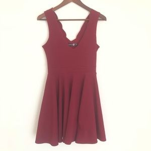 Deep Wine Scalloped Neck Cocktail Dress